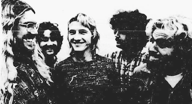 """Strawberry Alarm Clock, left to right: Ernie Morgan, Seve Bartek, Randy Seol, Richard Benedon, George Bunnell. """"The last time I saw Dennis Wilson we were on Sunset rehearsing during the day at Whiskey."""""""