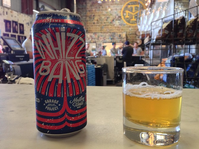 Modern Times head brewer Matt Walsh collaborated with New Zealand brewery Garage Project on Guy Fawkes Day 2015 to brew Whizz Bang Hop Rocket IPA, featuring Riwaka hops and gunpowder tea.