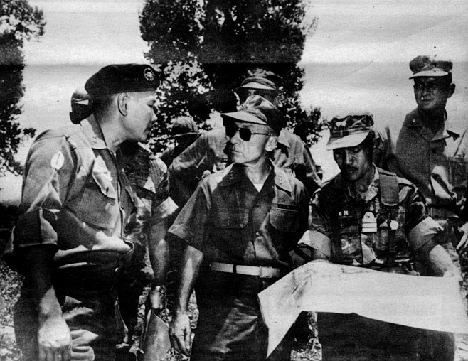 """Krulak (second from left) in South Vietnam, 1966. """"Harriman said, 'What are we going to do to win?"""" And I said, 'Mine and destroy the port of Haiphong, destroy the rail lines, destroy power, fuel, and heavy industry.'"""""""