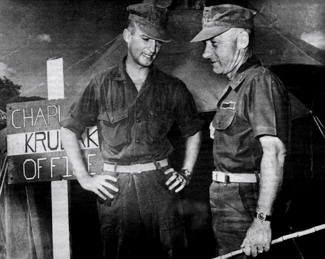 """Krulak with eldest son at Chu Lai, South Vietnam, 1965.  """"All three sons were all there at the same time. Only family in the United States that had four officers there at once. I worried about them just on the basis of the laws of chance."""""""