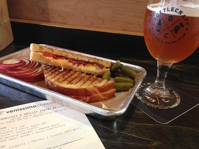 Gourmet grilled cheese and beer