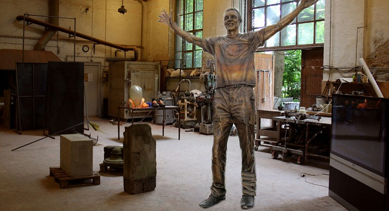 """""""You can't put a [bronze] BAND-AID on a [bronze] broken bone."""" Despite the exterior support provided by a ribbon of flexible metal, the Walton statue's left ankle couldn't withstand the pressure placed upon it, and may have to be recast."""