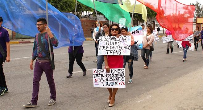 At the May 17 march recognizing el dia nacional de la lucha contra la homofobia, people carried signs that criticized Baja's governor.