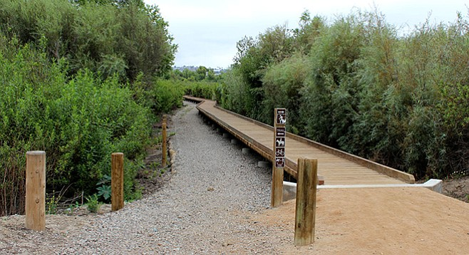Part of the Tijuana River Valley trail is along a boardwalk