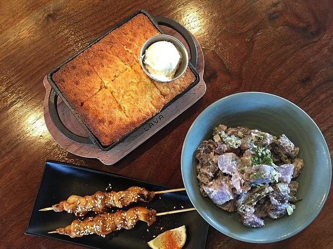 Cornbread, chicken yakitori, Peruvian potato, charred green bean salad