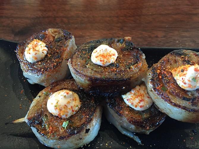 Pork belly and kimchi yakitori