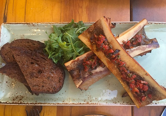 Smoked bone marrow, sun-dried tomato chimichurri, malted brown bread