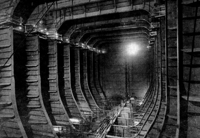 "Interior of Exxon Valdez. As Rittermann describes it, and as his photograph shows, it's ""as large as a cathedral."""