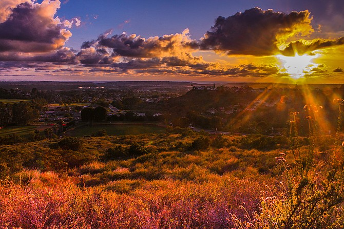 Inland sunsets can be pretty too! Cloudy sunset over Hilltop Park at Rancho Penasquitos :)