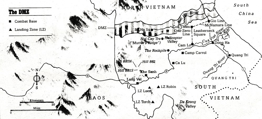 The DMZ. The upper Cam Lo River loops from Helicopter Valley; where the cartwheeling rotor of an exploding chopper sliced Marines in half; 'round LZ Margo (where I threw my first grenade) past Hill 304 (Mutter's Ridge).