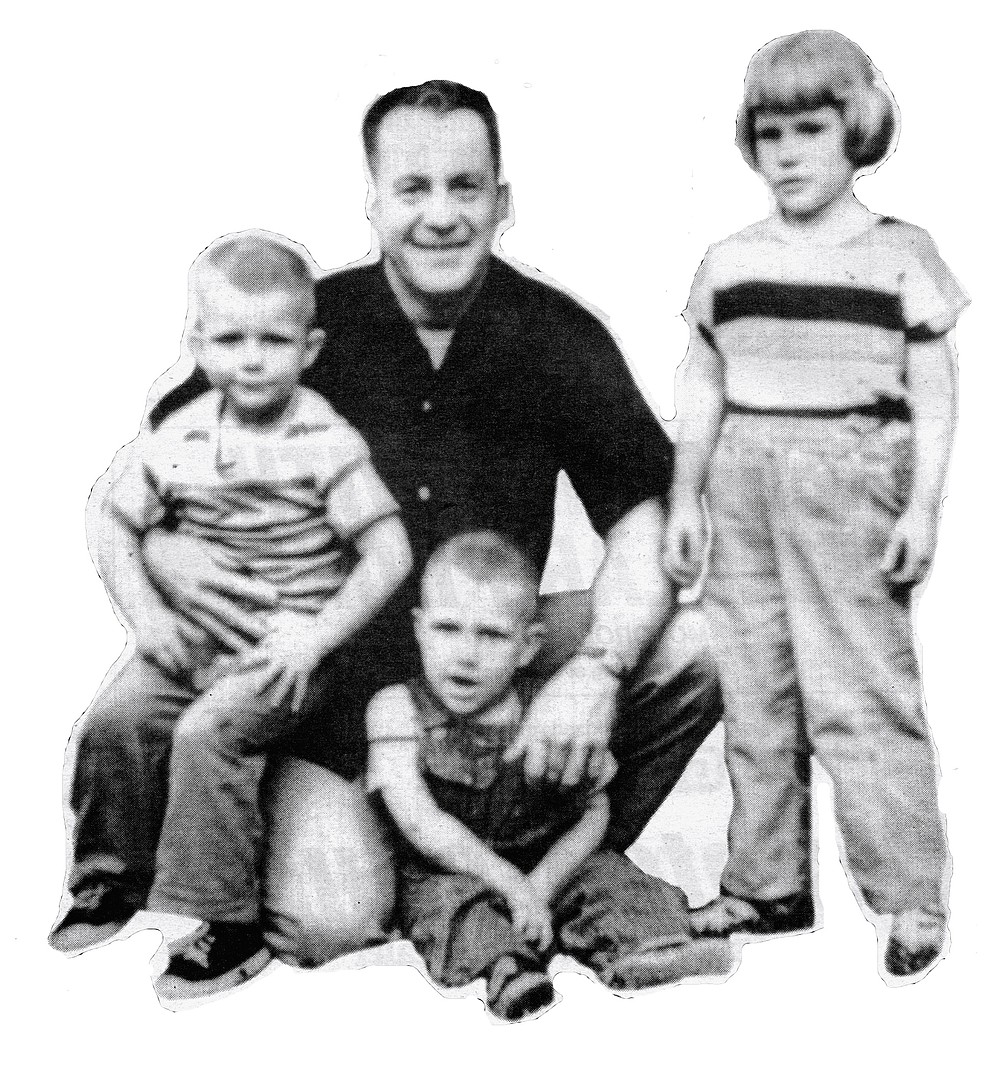 The author (left) with father, sister, and brother. Years later I learned that Mother, not long after the Baby Kirk was born, had tried to kill her children.