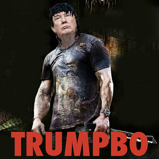 """Trump: """"In the '80s, heroic Special Forces veteran John Rambo fought to bring home American prisoners who had been abandoned by the Powers That Be — mostly Democrats, but also some cowardly Republicans. But now it's a new era, and it's not just soldiers who need rescuing, it's our whole way of life, starting with our economy. It's going to take more than a soldier to save us now, no matter how skilled. It's going to take a President. It's going to take…me."""""""