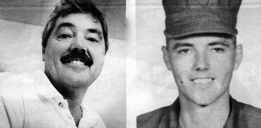 "Larry Bangert today (left), and as a young Marine: ""I hardly know truly what the Marine Corps was."""