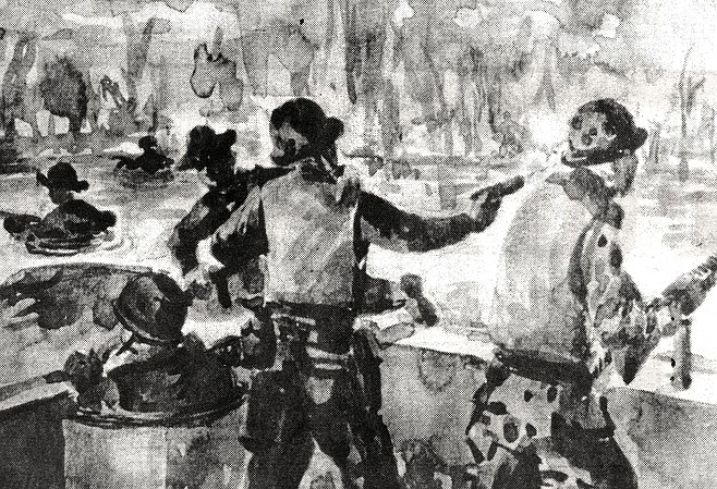 """Extraction of SEAL Team Two, Alpha Squad; watercolor sketch. """"Marciano says to me, 'You have to watch.  When I fire, make sure the gun belt doesn't twist on me.'"""""""