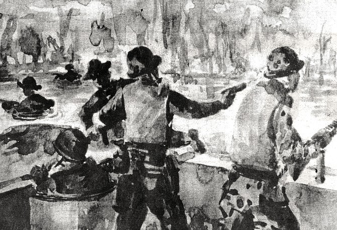 """Extraction of SEAL Team Two, Alpha Squad; watercolor sketch. """"Marciano says to me, 'You have to watch.  When I fire, make sure the gun belt doesn't twist on me.'"""" - Image by Salvatore Indiviglia"""