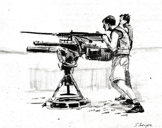 "Lt. (jg) Herbert manning a 50 caliber and 81mm mortar; ink sketch. ""I take certain liberties to keep it fluid, elastic."""