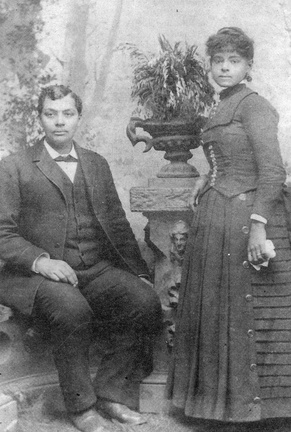 Amos and Cynthia Hudgins (grandparents of Cynthia May), 1874. Grandpa Amos was very light but had Negro features. Grandma Cynthia's father was English— her mother was perhaps mulatto as well.