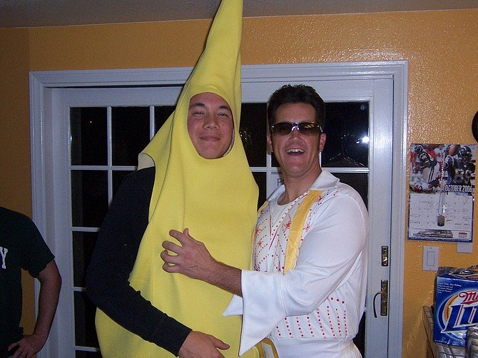 Brian the Banana, and Andrew as Elvis