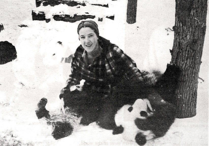 Ruth in Chicago with both pandas