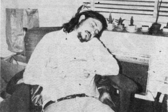 N. Y.C., fall '72, Here, in author's highly uncomfortable living rm. chair, the man dozes, casually/mightily [see text], between beers.
