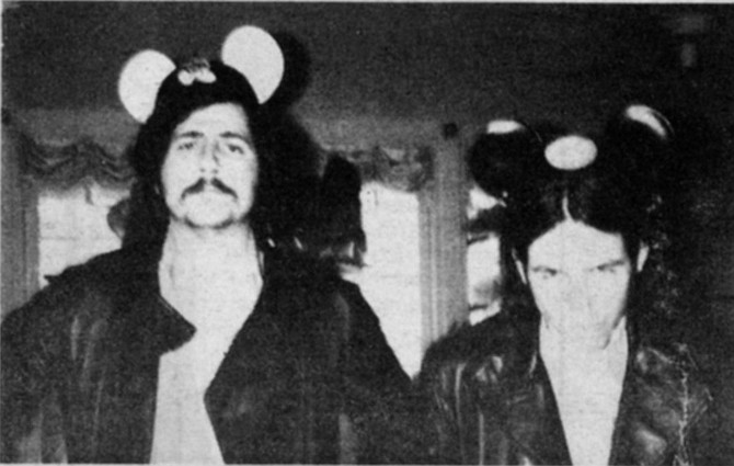 Life on the rockwrite dole: Disneyland, Jan. '72, side trip down from MCA Records convention in Universal City. Lester the Proud on left: Jon Tiven, upstart fanzine creep, right.