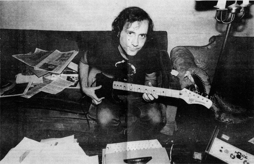 """Lester Bangs at home in NYC, 1981.  I get this call from Nick Tosches requesting that I please take Lester, who'd shown up at his door on acid, """"off my hands."""""""
