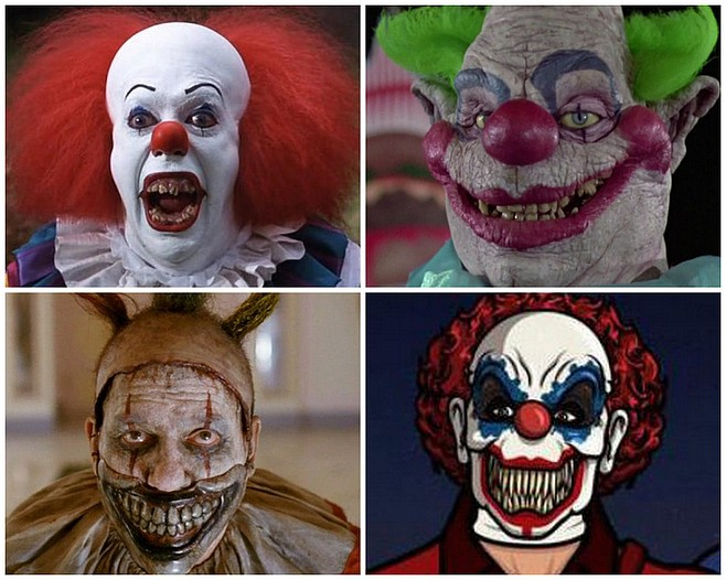 """No laughing matter: UCSD Professor of Social Pseudosciences Kate Pontifi says that while Musical Fruit's appearance does indicate that coulrophobia is no longer as socially acceptable as it once was, """"the days of Pennywise from Stephen King's It and the Killer Klowns from Outer Space (top left and right) are by no means ancient history. American Horror Story's Twisty the Clown may have been a tragic figure, but he was also a deranged murderer. And the animated series Archer recently outfitted a gang of violent thieves in evil clown masks, and made them incompetent to boot. To see these kinds of casually demonizing portrayals in shows noted for their generally accepting atmospheres just shows how far we have to go as a society in our opinion and treatment of clowns."""""""