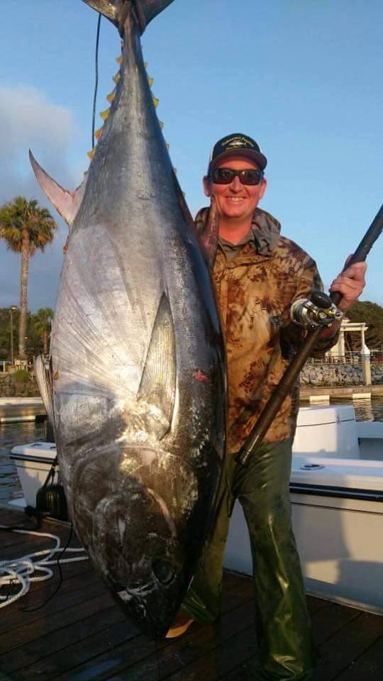 Let's Talk Hookup's' Rick Maxa with a 205-pound bluefin tuna