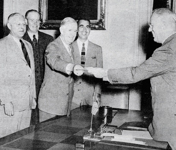 Smith (second from right) and other members of the State Highway Commission with Governor Earl Warren (far right) in the mid-1940s