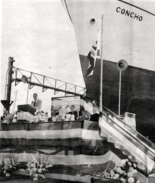 Smith speaking at christening of the tuna seiner Concho, c. 1957. Having built steel ships during the war, we recognized that a steel tuna clipper would be a lot more efficient vessel than a wooden ship. But we had a hell of a time convincing the Portuguese.