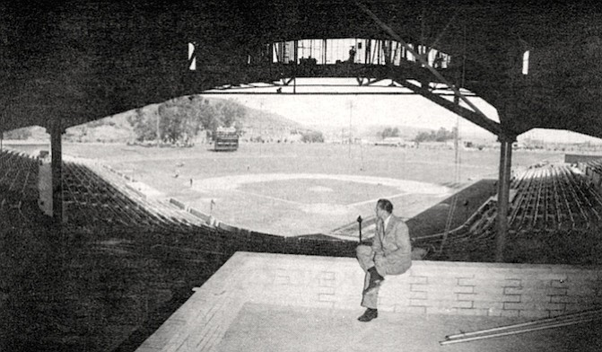 Ralph Kiner (Padres General Manager) at Westgate Park, 1958. When they built the Sports Arena down there, it took away the circuses and concerts and other things from our Westgate Park. But I didn't oppose the Sports Arena. They would have tarred and feathered me.