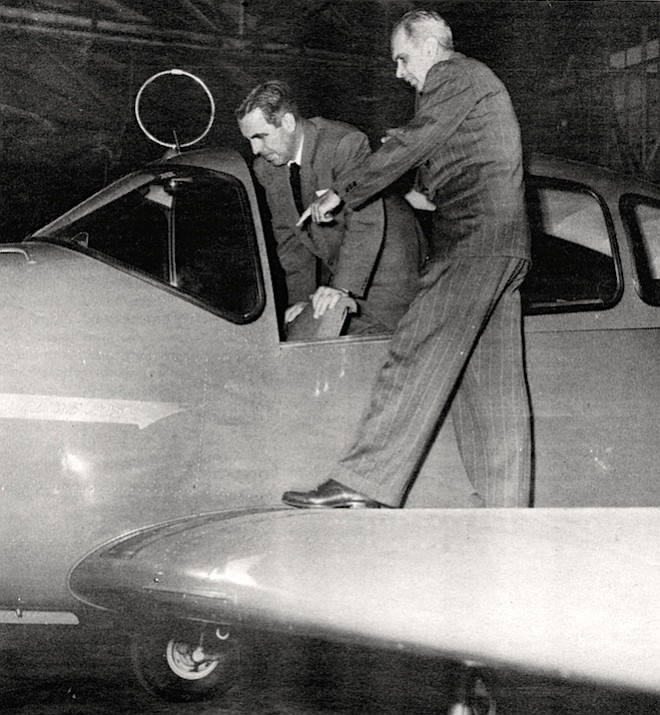 Smith with Claude Ryan and a Navion. Ryan Aeronautical never would have made it except for our little bank. We started loaning to Ryan when he had nothing but a pair of pliers in his pocket.