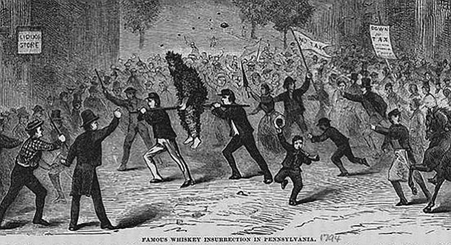 """""""Famous Whiskey Insurrection in Pennsylvania,"""" an 1880 illustration of a tarred and feathered tax collector being made to ride the rail"""