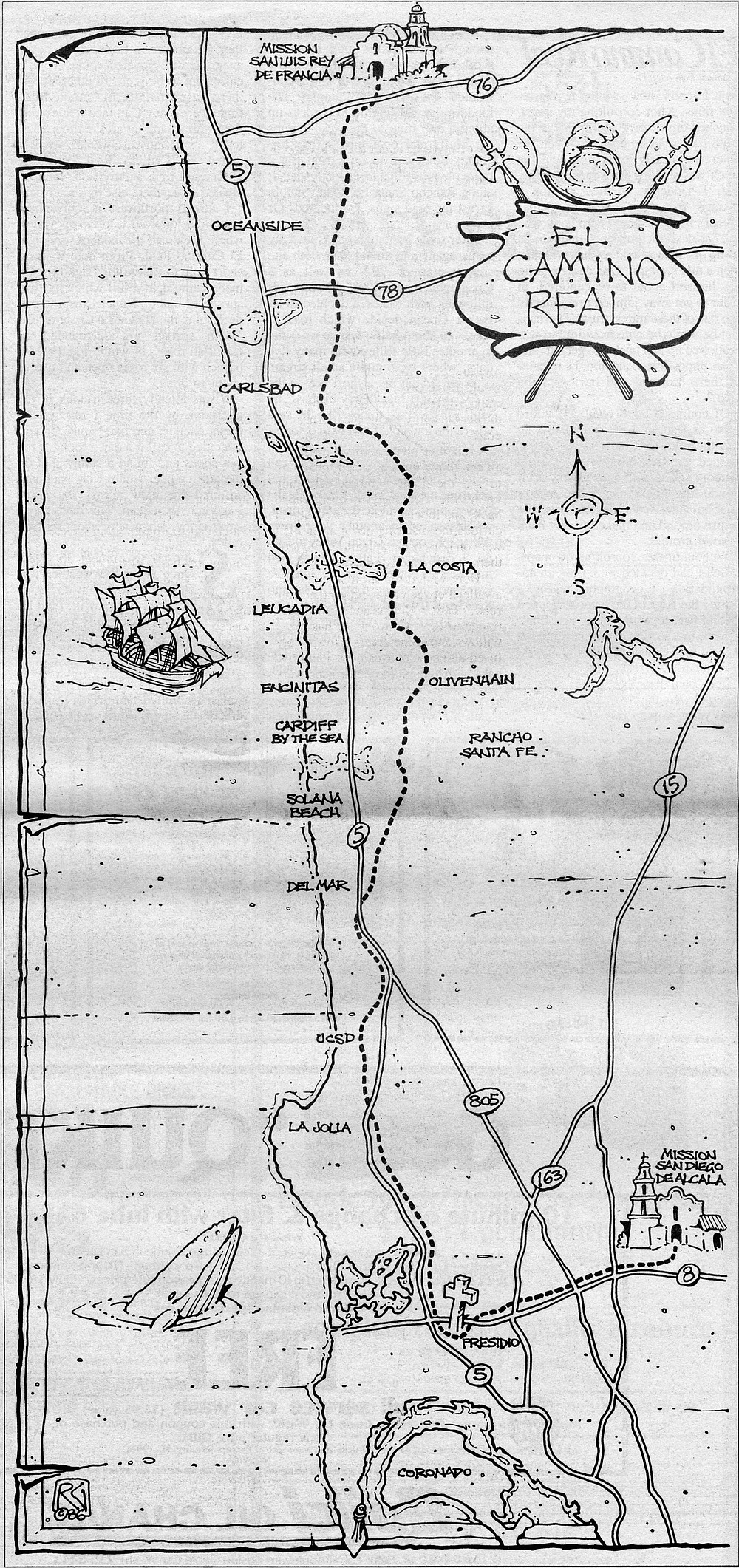 I was relying on a San Diego County survey map of 1872 (on which El Camino Real is shown as nothing but a foot trail), on the advice of several old-timers whose memories of the route predate most of the county's freeways and subdivisions, and upon the diary of Father Juan Crespi.