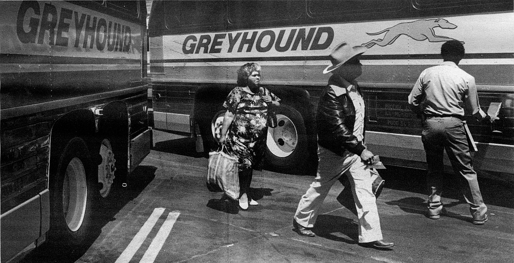 The Greyhound bus station at 1st and Broadway has so many