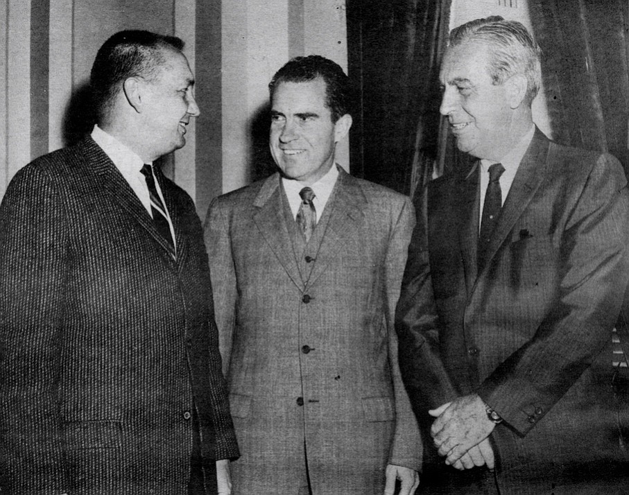 Congressman Bob Wilson, Richard Nixon, Smith c. 1960. I took him and Mrs. Nixon out on the boat several times when he had meetings in San Diego. We had a good-sized boat at that time, and I remember we'd take her out in the bay. We didn't bother her, just let her sit and read.