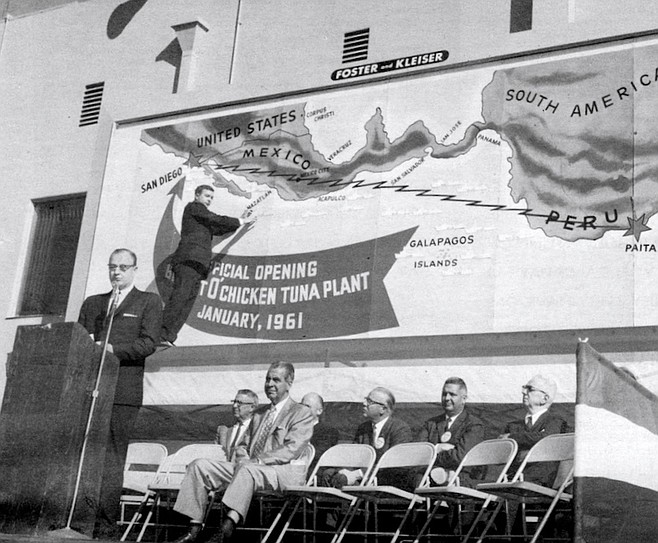 Westgate Tuna Plant dedication, 1961. I was hustling private investment to come in and invest in tuna canneries because we were trying to expand our fleet.