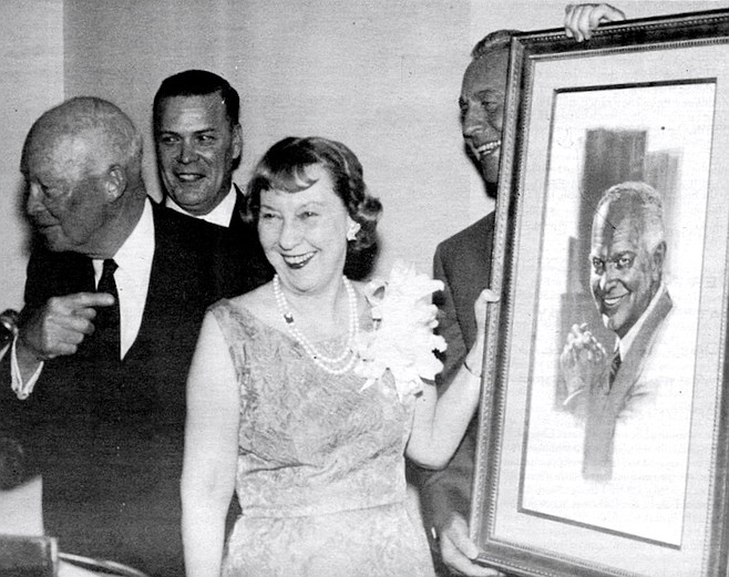 "President Dwight Eisenhower (left), Mamie Eisenhower (center), Smith (right), c. 1959. We were giving him a breakfast at the Cuyamaca Club. I was sitting next to him, and we were talking about San Diego, and he said, ""Is the El Cortez Hotel the best hotel you've got in San Diego?"""