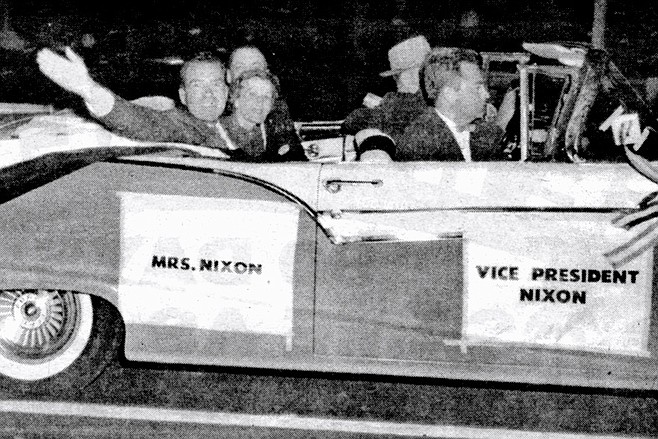 The Nixon campaign travels down Broadway in San Diego, October 1956