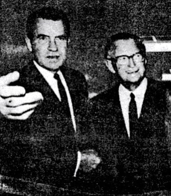 "Nixon and James Copley, October 8, 1973. Copley once boasted that his papers had ""delivered"" San Diego to Nixon during the closely fought 1960 presidential campaign."