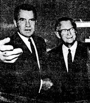 """Nixon and James Copley, October 8, 1973. Copley once boasted that his papers had """"delivered"""" San Diego to Nixon during the closely fought 1960 presidential campaign."""