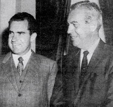 """Richard Nixon and C. Arnholt Smith, c. 1960. """"Smith had known Nixon from boyhood. In the Whittier area he had known him, and he had given a large sum of money to one of his very first campaigns."""""""