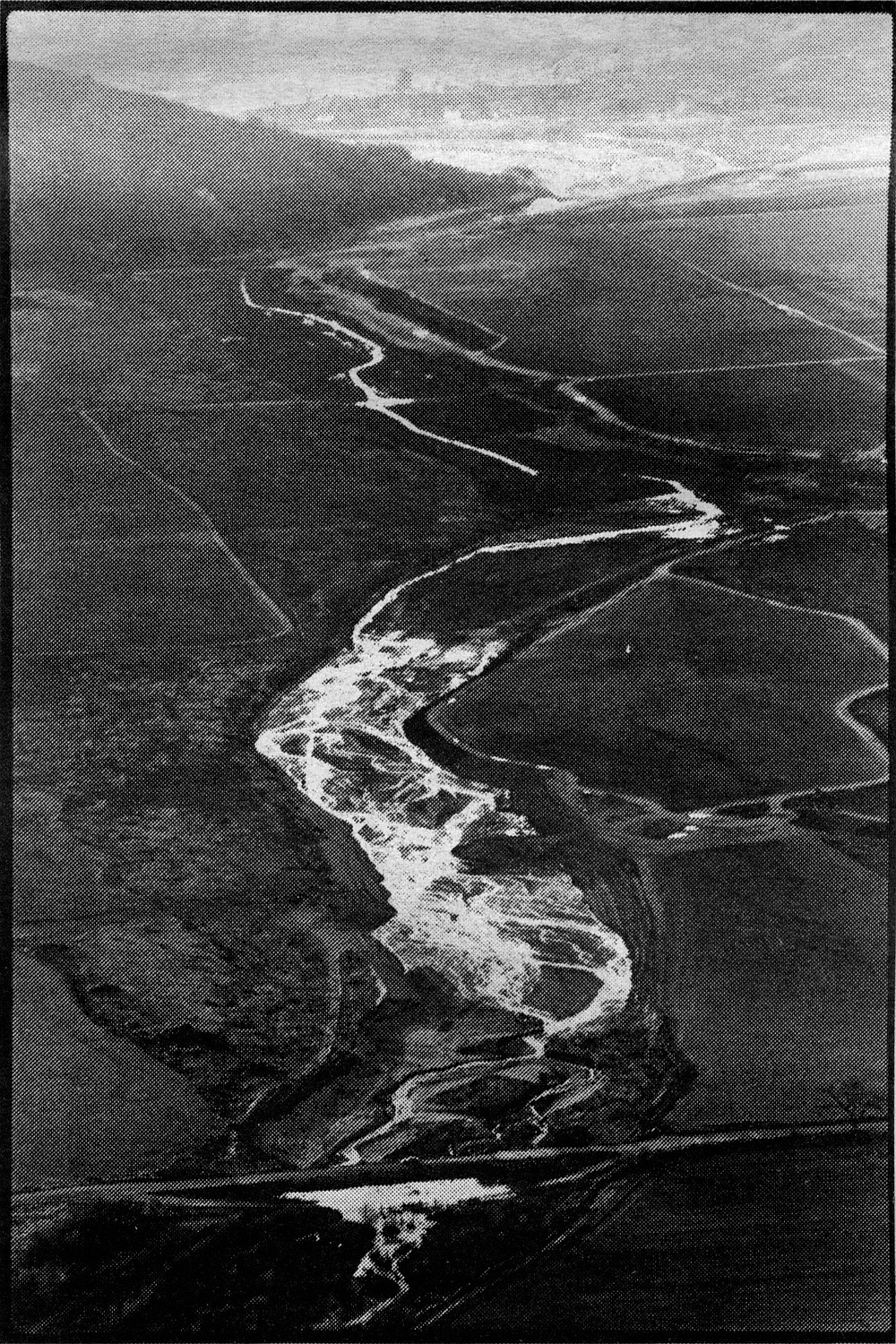 "The San Pasqual Valley.  In those days the river's course was serpentine, which the dairyman H.G. Fenton thought deprived him of usable farm land. So Fenton ""corrected"" the problem by using bulldozers to straighten three miles of the river."