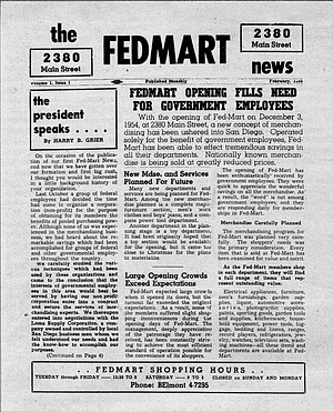 """""""At first the downtown merchants thought we were crazy, so they left us alone."""" But in fact, the very first FedMart newsletter, in February of 1955, contained evidence that the battle was joined early."""