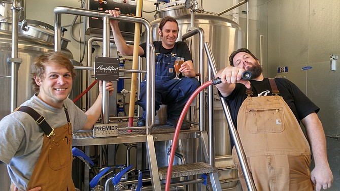 The Amplified Ale Works brewing team: Alex Forsman, Cy Henley, Jeff Campbell