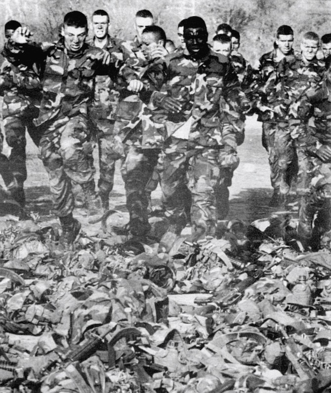 """1st Squad, Platoon 1005, Bravo Company. At the end of the 15-day phase, they are tested. Failure of any aspect of training can result in the dreaded """"recycling."""""""