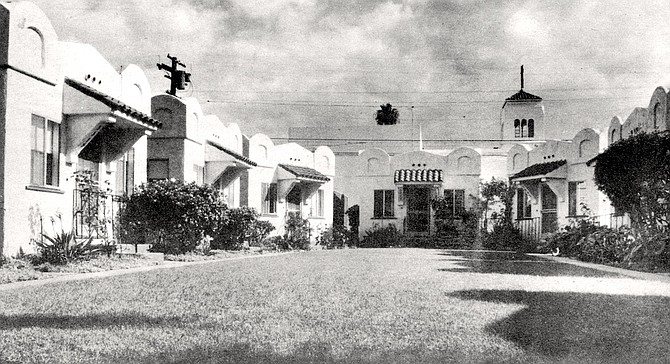 3309 Thirtieth Street, San Diego. The typical court consists of eight to twelve dwellings set in a U-shape about the perimeter of a rectangular lot.