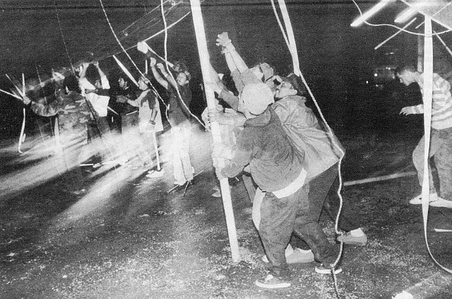 "Lowering the quarter poles. When the quarter poles start swinging, get out of the tent. There is nothing more dangerous in the circus than a ""blow down."""