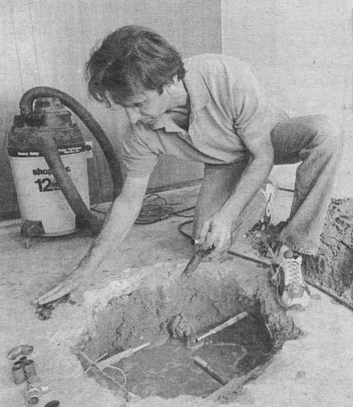 "Steve Garber fixing a slab. If a building is to be sold, the toilet, installed in 1988, must be replaced with a 1.6-gallon model and the faucet in the bathtub must be above the floodline of the bath to prevent ""gray"" water being siphoned back into the potable water supply."