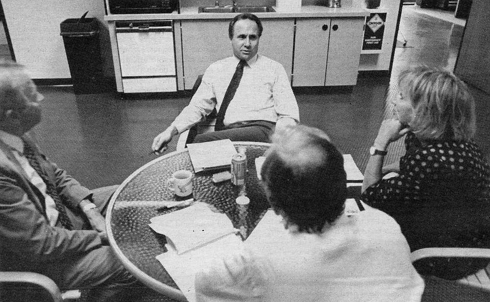 Planning session at KUSI with Van Deerlin, Reagan, Paul Beaver and Danuta (left to right)
